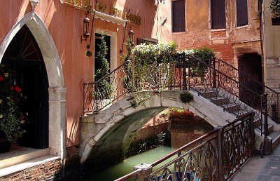 Venice canal bridge alley