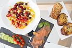 Fruit, smoked salmon, pastries