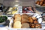 Breads, meats, cheeses, breakfast buffet