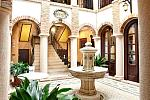 Patio and fountain