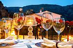 Terrace, wine glasses, Cases Noves, Guadalest